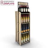 Piso de 3 capas de madera y metal expositor de vino para almacenar