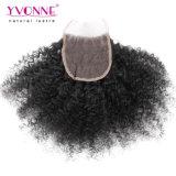 Yvonne Wholesale 100% het Menselijke Maagdelijke Haar van Afro van de Sluiting van het Kant van het Haar Braziliaanse Kroezige Krullende