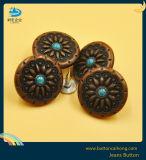 Liga de zinco Vintage antigo botão jeans com botões de velho diamante