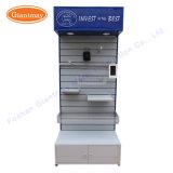 Présentoir s'arrêtant au détail de mur de lamelle de machine-outil d'étagères en métal en gros avec le cadre léger