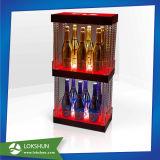 Visualización de acrílico de encargo de la botella del licor del vino de la cerveza de la alta calidad con la luz del LED
