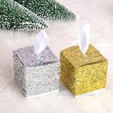 Rectángulo de empaquetado vendedor caliente del caramelo del rectángulo del regalo brillante de Bling Bling de los cequis del oro