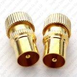 Connecteur d'or de fiche mâle de TV pal pour le câble coaxial RG6 et Rg59 d'antenne de TV