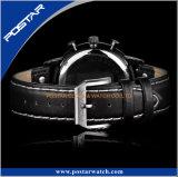Montre-bracelet militaire du sport des hommes de cuir d'acier inoxydable de mode