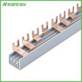 U Busbar MCB van de Distributie van het Koper van het Type van Speld Insteek1p 2p 3p Busbar van het EindBlok