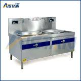 Xc12K-2W2 double en acier inoxydable brûleurs Wok à induction cuisinière