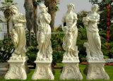 Natürliche weiße Marmorsteinkunst, die Skulptur für Garten-Dekoration schnitzt