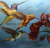壁の装飾のためのハンドメイドのぶんぶんいう鳥の油絵