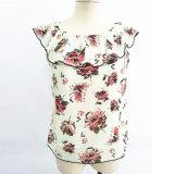 卸し売り女性の衣服は最も遅くデザインひだのタンクトップを印刷した