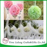 우유 백색 실크 Pomander 키스 결혼식 꽃 공 중앙 장식품