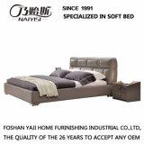 Новая самомоднейшая неподдельная деревянная кожаный кровать для гостиницы G7003