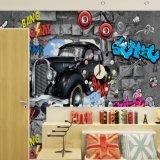 Behang van de Muurschildering van de Auto van de douane 3D Uitstekende Zelfklevende voor de Zaal van het Bed van Jongens