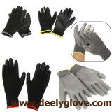 Черные перчатки безопасности ладони PU черноты полиэфира