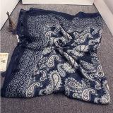 Aqua Sarjado azul azul algodão lenço de flores de caju