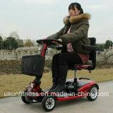 4つの車輪はより古い三輪車のための電気1000W移動性のスクーターを折る女性モデルを指示する