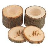 Caixa de oferta de madeira redonda Eco-Friendly para anel de casamento tesouro de madeira dupla caixa Organização