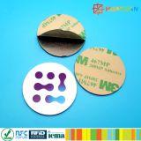 Insignia de encargo en etiqueta adhesiva redonda de la etiqueta engomada del metal NTAG213 NFC