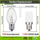 Blanc blanc de l'ampoule S6 1.5W E12 de nuit de l'UL DEL de RoHS de la CE/chaud froid
