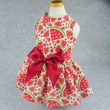 Roupa do animal de estimação da melancia do Sweetie para camisas de Sundress do vestido do cão