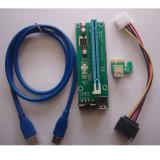 1Xによって動力を与えられる暴徒のアダプターのカードWith60cm USB 3.0の延長ケーブルへのPcie Ver 006c PCI-E 16X及びSATAの電源コードへの6Pin PCI-E - GPUの暴徒のアダプターのEthereum鉱山と