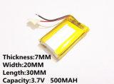 Batterij 3.7 V van het Lithium van het polymeer, 702030 500mAh kan Customizedce FCC RoHS MSDS de Certificatie van de Kwaliteit zijn