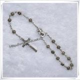 Bianco perline di plastica auto religiosa rosario braccialetto (IO-CB017)