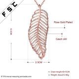Frauen-grosses Blatt-geformtes Rosen-Luxuxgoldhängende Kristallhalskette