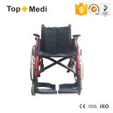 Chaise roulante manuelle confortable en aluminium pour handicapés