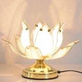Feu de métal moderne cuit le verre incurvé trois niveaux d'éclairage lumière tactile Lotus lampe de table