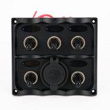Painel de interruptor de balancim impermeável de 6 Gang com encaixe de isqueiro