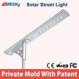Projeto novo todo em uma lâmpada de painel solar ao ar livre da iluminação da potência solar de sensores de movimento da luz de rua do diodo emissor de luz com FCC do Ce