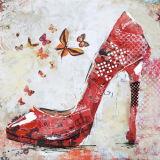 Het rode Sexy Hoge Af:drukken van het Canvas van het Olieverfschilderij van Hielen Moderne