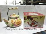 Chaleira de esmalte para chávenas de esmalte de ordens em fábrica, conjunto de chaleira de bule de esmalte 2.5L
