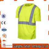 T-shirt r3fléchissant de bande de sûreté bon marché élevée de visibilité avec la chemise courte