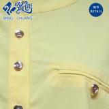 Cream-Coloured緩い偶然前部ボタンの中間袖のCollarless方法ブラウス