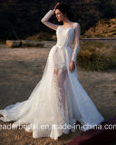 Illusion Sleeves Vestido de noiva Zuhairmuard Lace Wedding Gown Ld1164