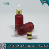 bouteille en verre cosmétique givrée rouge foncé de l'huile essentielle 30ml