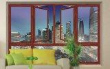 Fenêtre à battance en aluminium trempé en double à haute qualité Woodwin