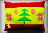 赤くおよび黄色の木の花ペット枕、犬または猫のクッション