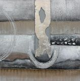 Pintura al óleo hecha a mano del extracto de plata moderno del color para la decoración casera