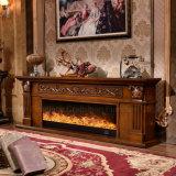 Éclairages LED européens de stand de la sculpture TV en meubles d'hôtel chauffant la cheminée (321S)