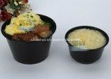bacia de sopa plástica descartável da injeção 360ml preta