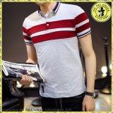 Le T-shirt 100% barré de T-shirt de T-shirt du coton des hommes en gros de revers de polo des hommes Short-Sleeved de chemise