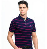 남자는 자수 로고를 가진 짧은 소매 95%Cotton5%Spandex 폴로 셔츠를 줄무늬로 했다
