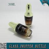 1oz勾配こはく色ガラス30mlの装飾的な血清の点滴器のびん