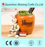 Sostenedor animal de la pluma del conejo de la resina de la decoración del regalo casero del recuerdo