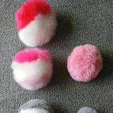 毛皮動物の接続機構ののどの毛皮のポンポンの球のキーホルダー