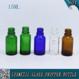 Botella de aceite esencial de botella de gotero de vidrio transparente de 15ml con estampado en caliente