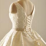 Vestidos de noiva de cetim Beads Ruffled Vestidos de casamento de luxo (Z2030)