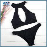 2018 Noir personnalisé Mesdames Sexy Bikini maillots de bain imprimé en deux pièces de crochet